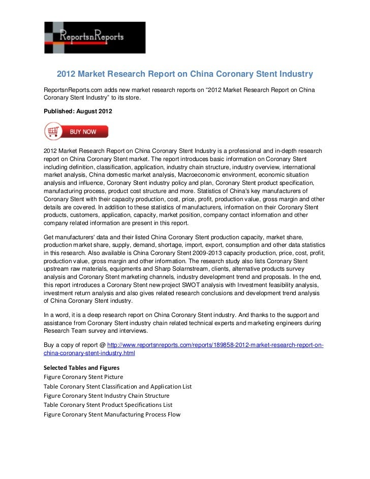 """2012 Market Research Report on China Coronary Stent IndustryReportsnReports.com adds new market research reports on """"2012 ..."""