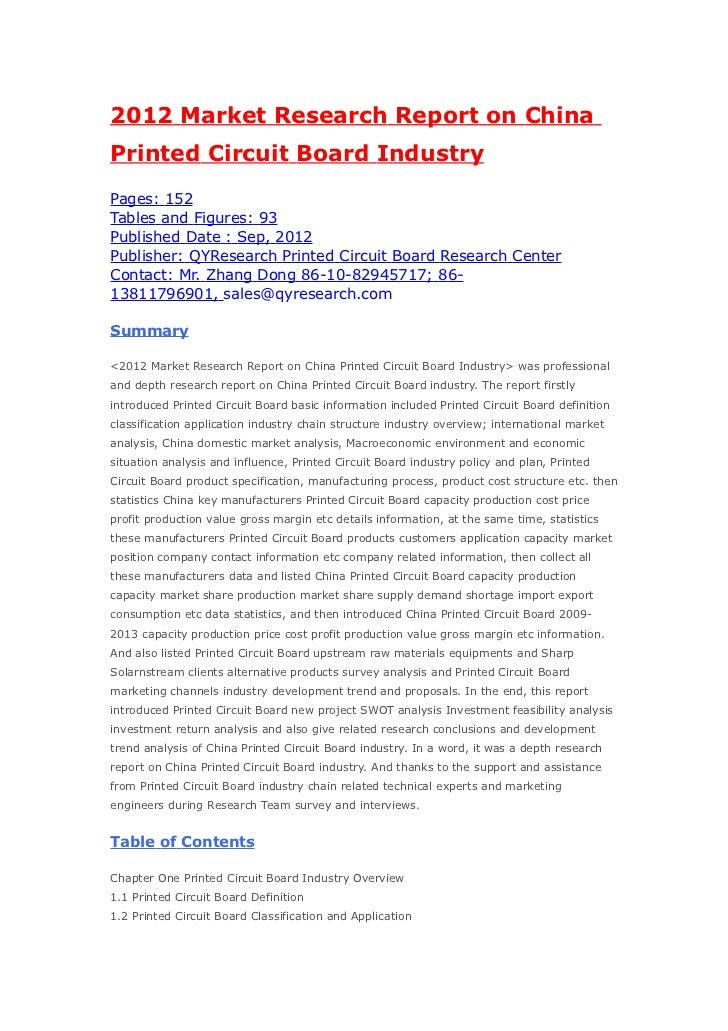 2012 market research report on china printed circuit board industry