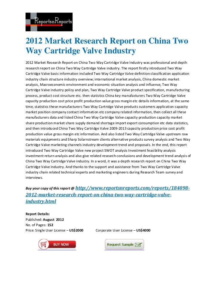 2012 market research report on china two way cartridge valve industry