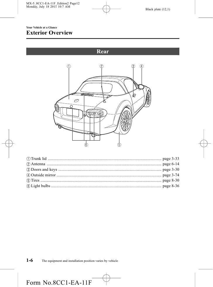 Mazda Mx Miata Convertible Owners Manual Provided By Naples Mazda
