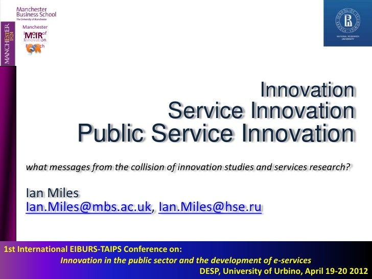 Innovation - Service innovation - Public Services Innovation