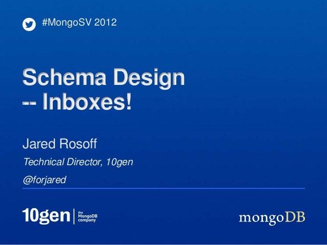 #MongoSV 2012Schema Design-- Inboxes!Jared RosoffTechnical Director, 10gen@forjared