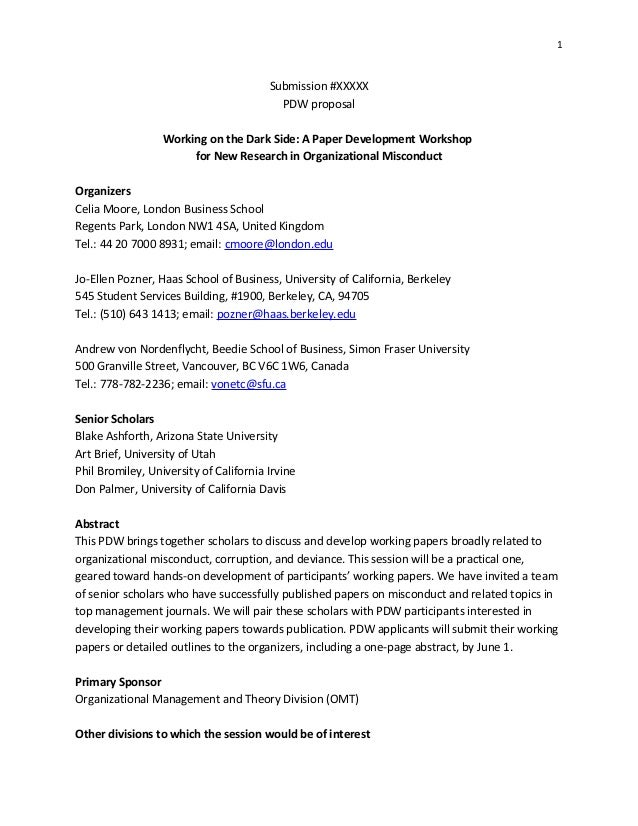 1 Submission #XXXXX PDW proposal Working on the Dark Side: A Paper Development Workshop for New Research in Organizational...