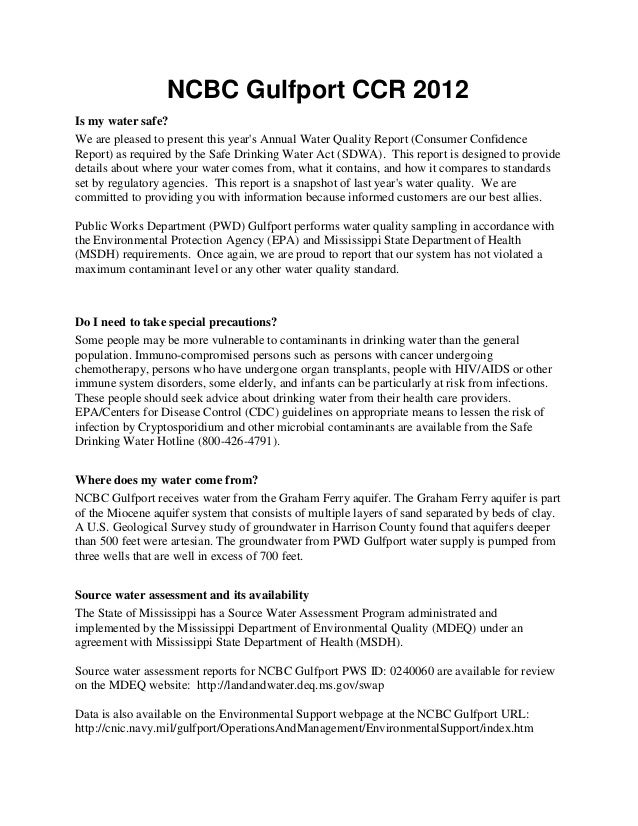 NCBC Gulfport CCR 2012Is my water safe?We are pleased to present this years Annual Water Quality Report (Consumer Confiden...