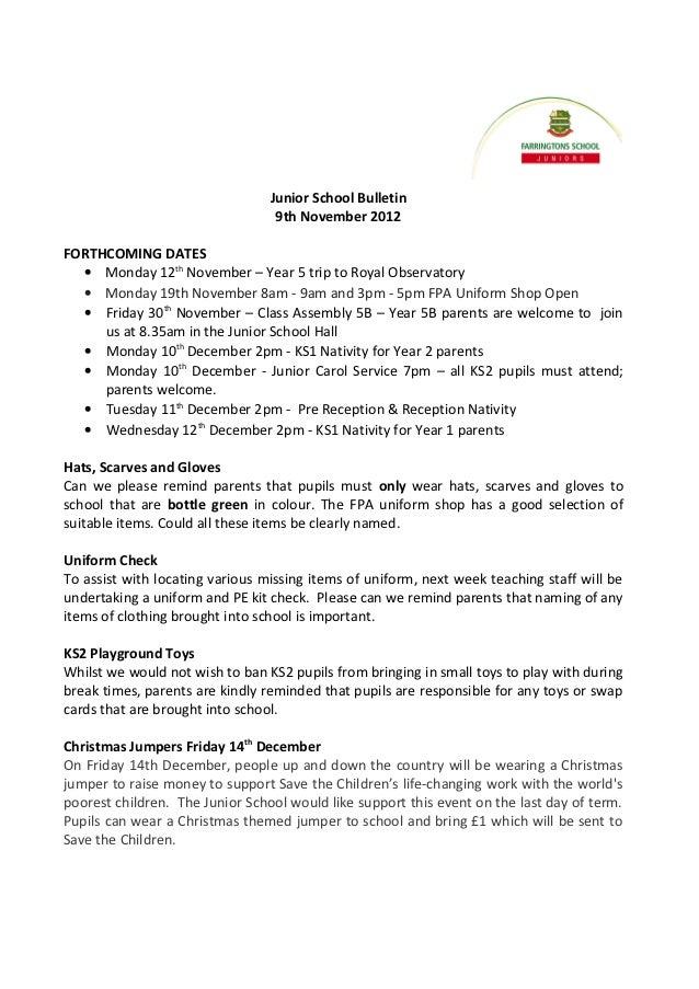 Junior School Bulletin                                  9th November 2012FORTHCOMING DATES  • Monday 12th November – Year ...