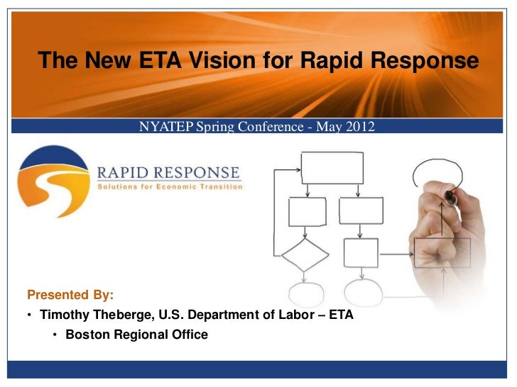 The New ETA Vision for Rapid Response                 NYATEP Spring Conference - May 2012Presented By:• Timothy Theberge, ...