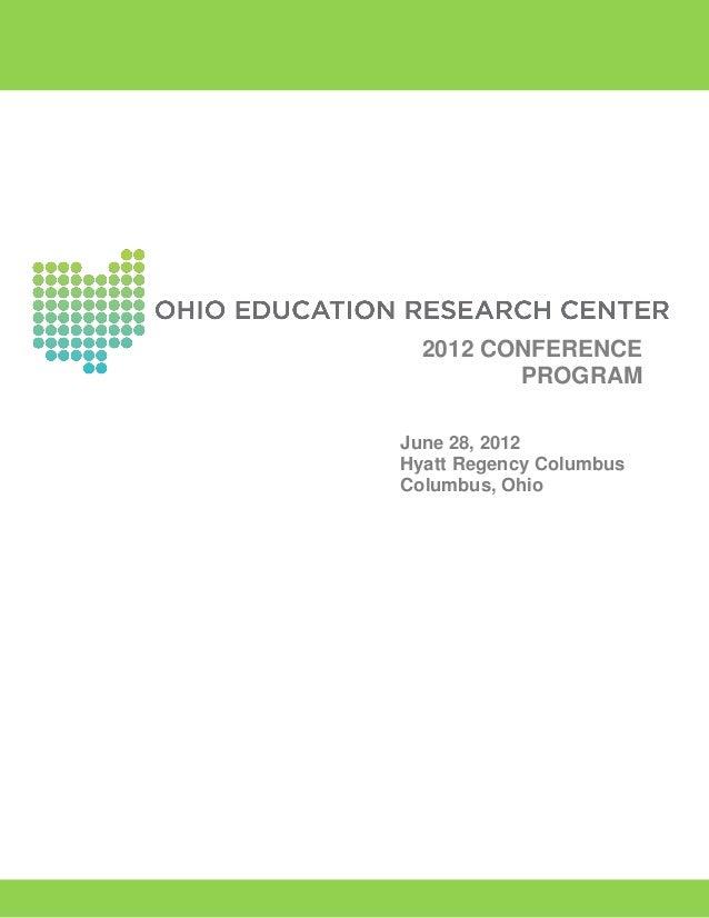 Ohio Education Research Center 2012 Conference Program