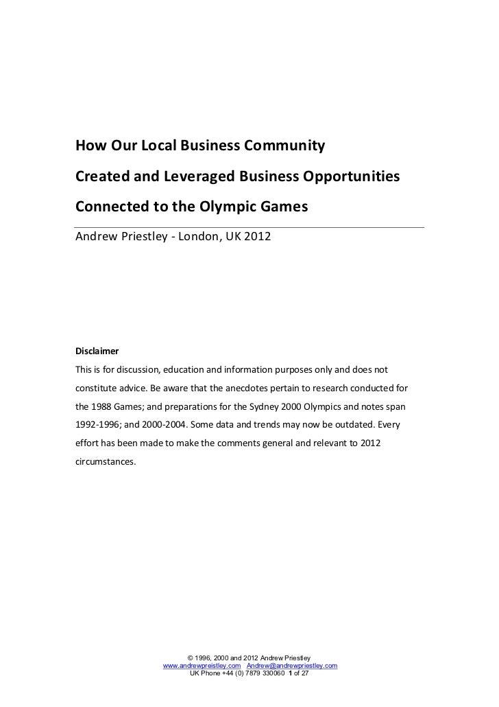 2012 London Olympics and beyond