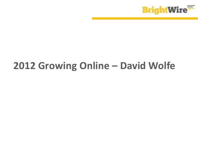 2012 Growing Online – David Wolfe
