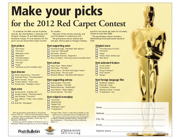 Make your picksfor the 2012 Red Carpet Contest  To celebrate the 84th annual Academy                       for readers.   ...