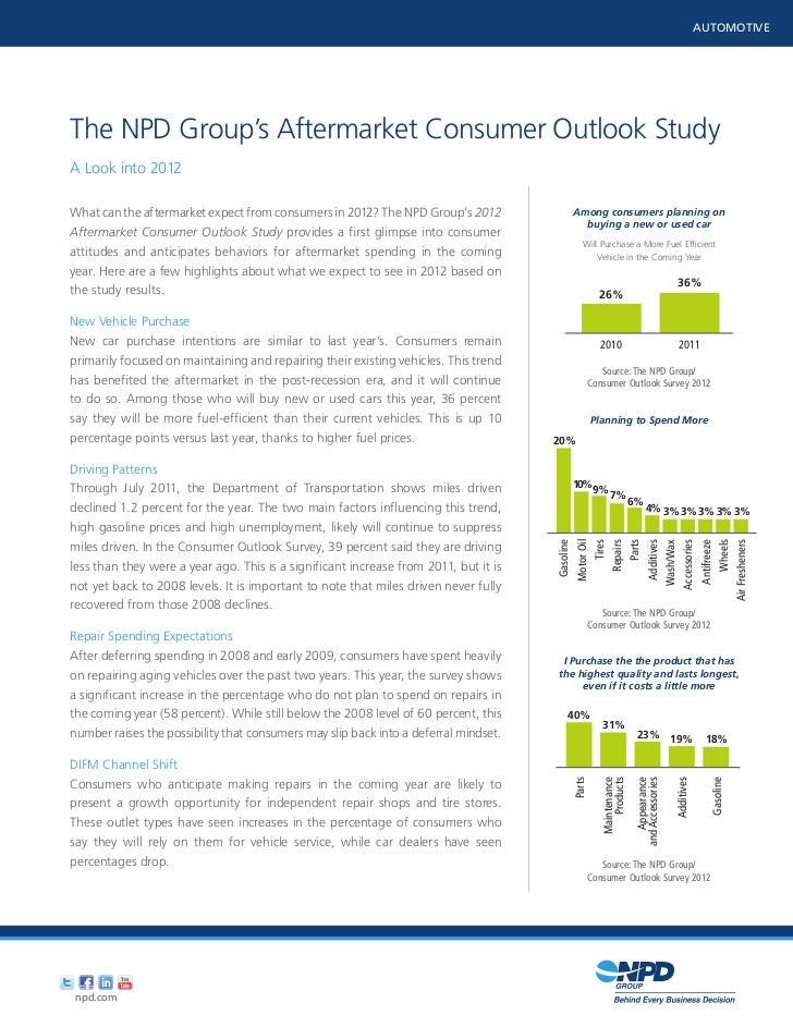 AUTOMOTIVEThe NPD Group's Aftermarket Consumer Outlook StudyA Look into 2012                      Use the eye dropper to c...