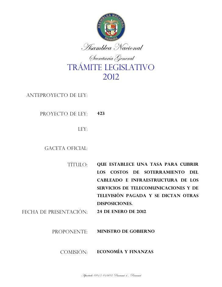 Asamblea Nacional                   Secretaría General               TRÁMITE LEGISLATIVO                        2012 ANTEP...