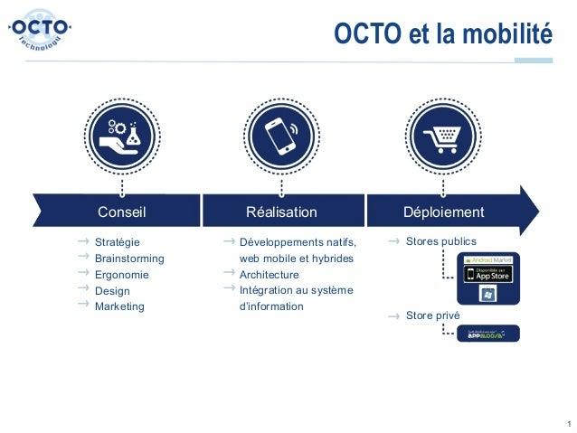 OCTO et la mobilitéConseil          Réalisation             DéploiementStratégie       Développements natifs,   Stores pub...