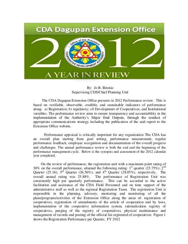 2012 CDA Dagupan Performance Review