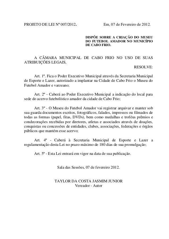2012 pl   dispõe sobre a criação do museu do futebol amador no município de cabo frio