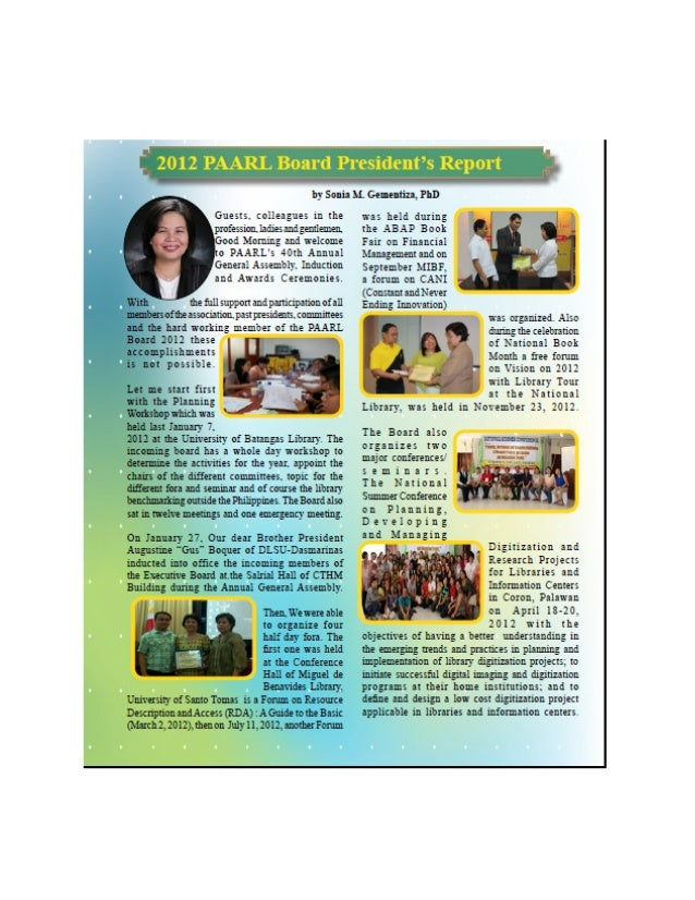 2012 president annual report