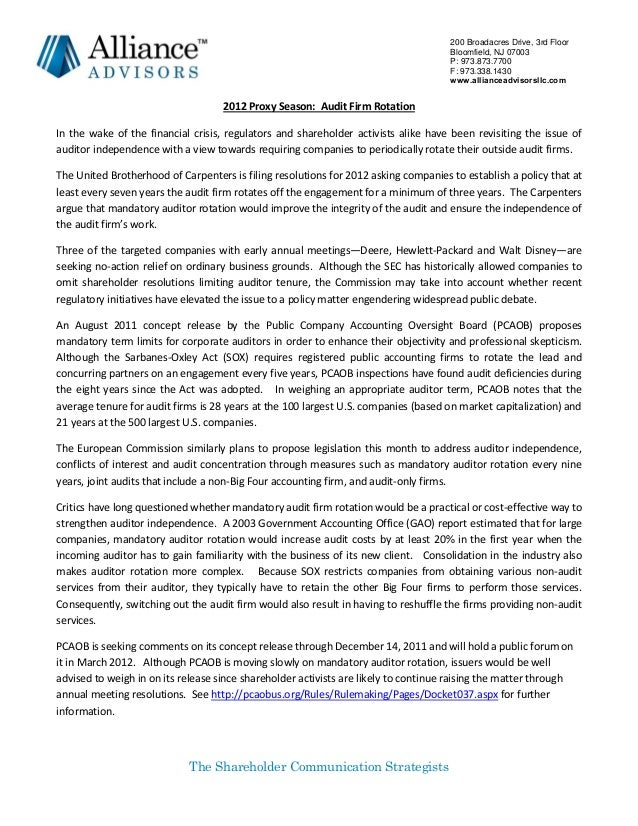 2012 Proxy Season - Audit Firm Rotation