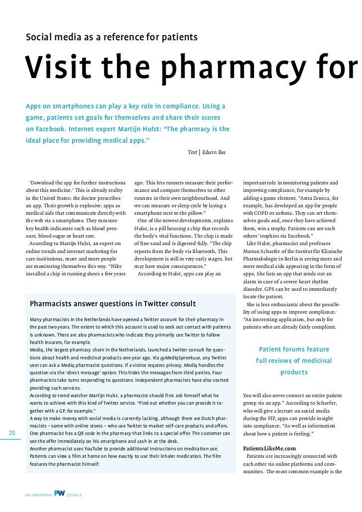 Artikel in Pharmaceutisch weekblad over apps en sociale media