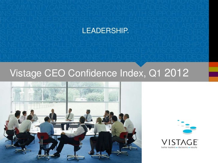 LEADERSHIP.Vistage CEO Confidence Index, Q1 2012