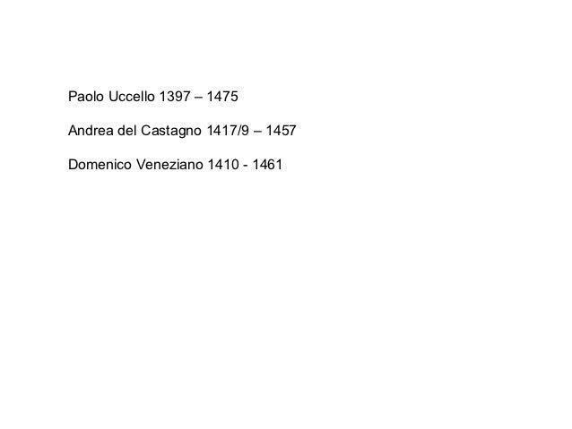 Paolo Uccello 1397 – 1475Andrea del Castagno 1417/9 – 1457Domenico Veneziano 1410 - 1461