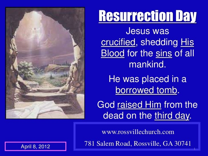 Resurrection Day                            Jesus was                     crucified, shedding His                     Bloo...