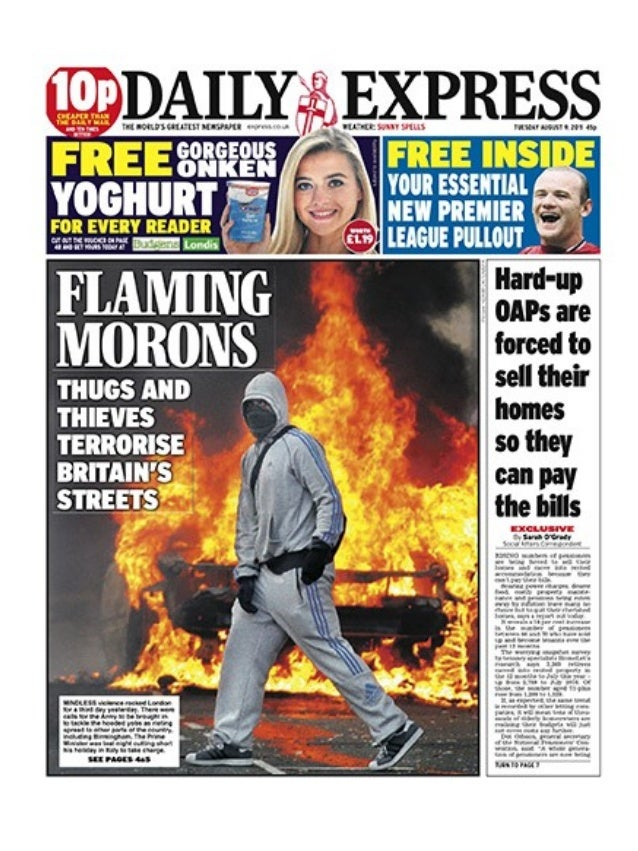 2012 riots front pages