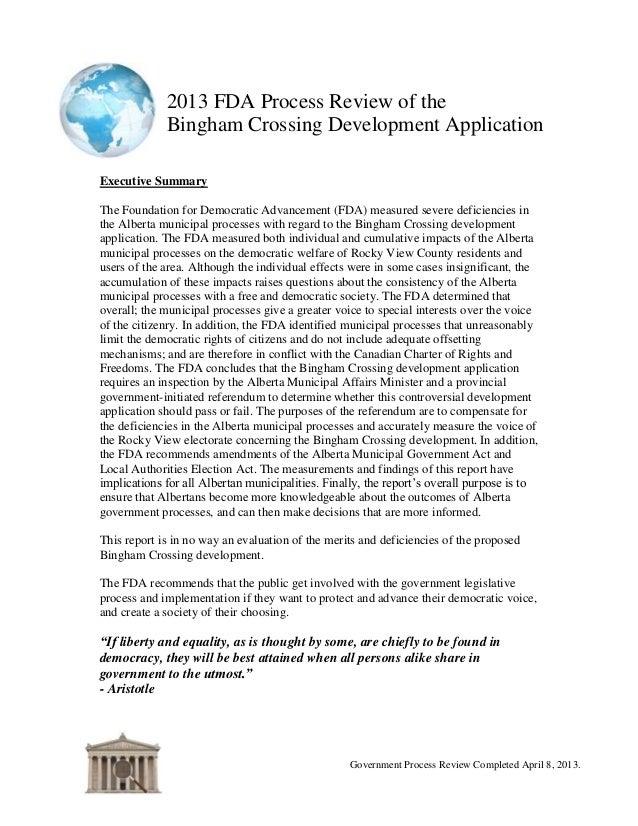 2013 FDA Process Review of the Bingham Crossing Development Application