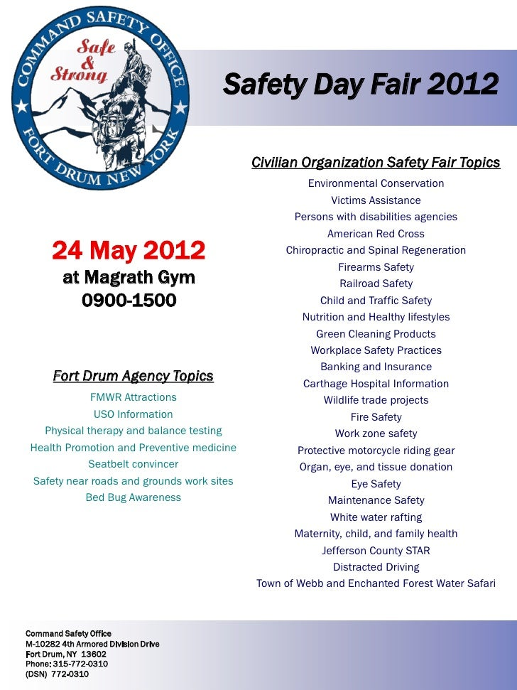 Safety Day Fair 2012                                            Civilian Organization Safety Fair Topics                  ...