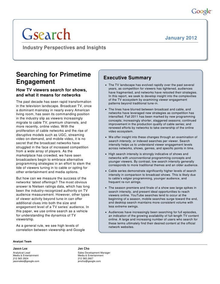 January 2012       Industry Perspectives and Insights  Searching for Primetime                                   Executive...