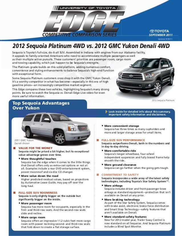 2012 sequoia platinum 4 wd vs. 2012 gmc yukon denali 4wd - north hollywood toyota, los angeles new used certified dealer