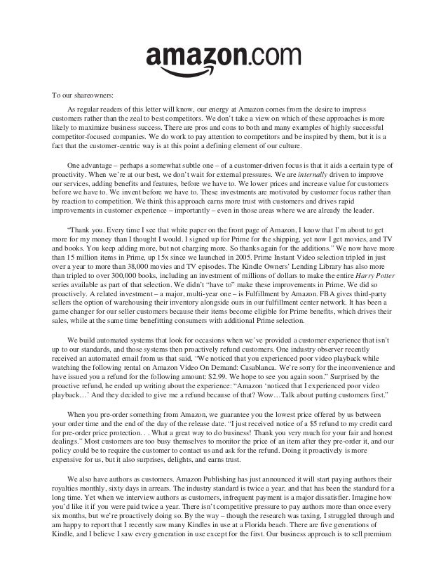 To our shareowners:      As regular readers of this letter will know, our energy at Amazon comes from the desire to impres...