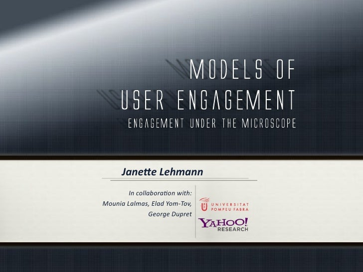 2012-07 Paper session UMAP - Models of user engagement