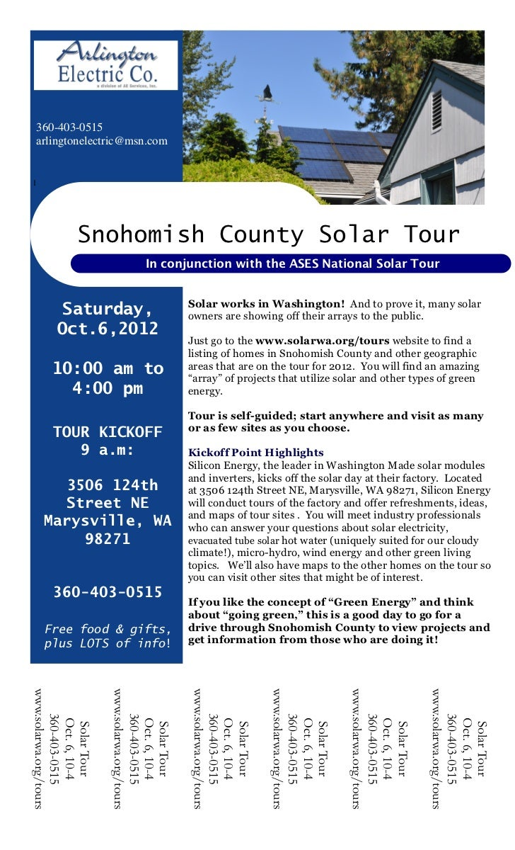 360-403-0515 arlingtonelectric@msn.com1                Snohomish County Solar Tour                                    In c...