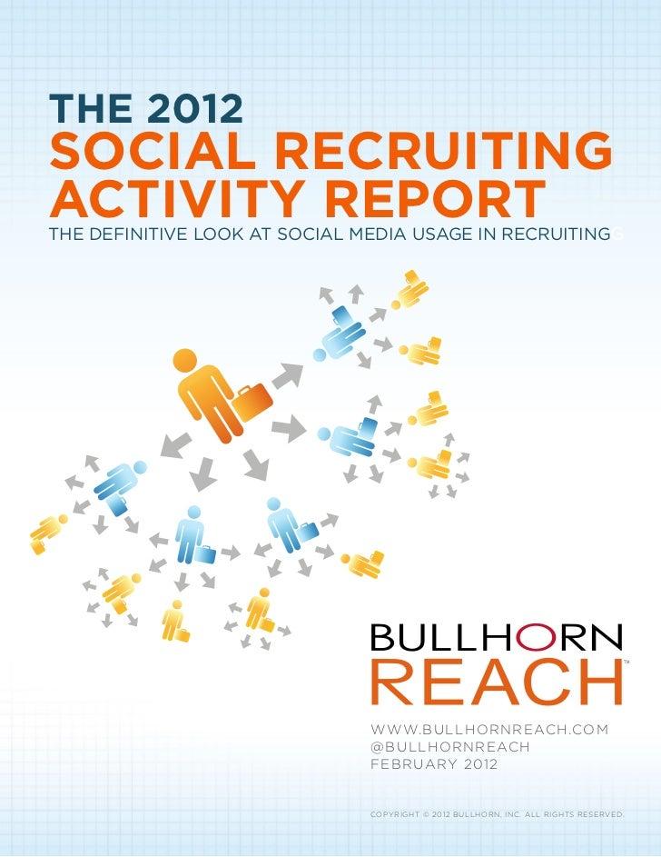 2012 Social Recruiting Activity Report
