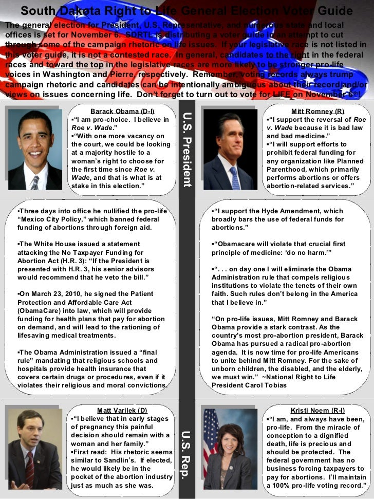 2012 South Dakota Right to Life General Election Voter Guide