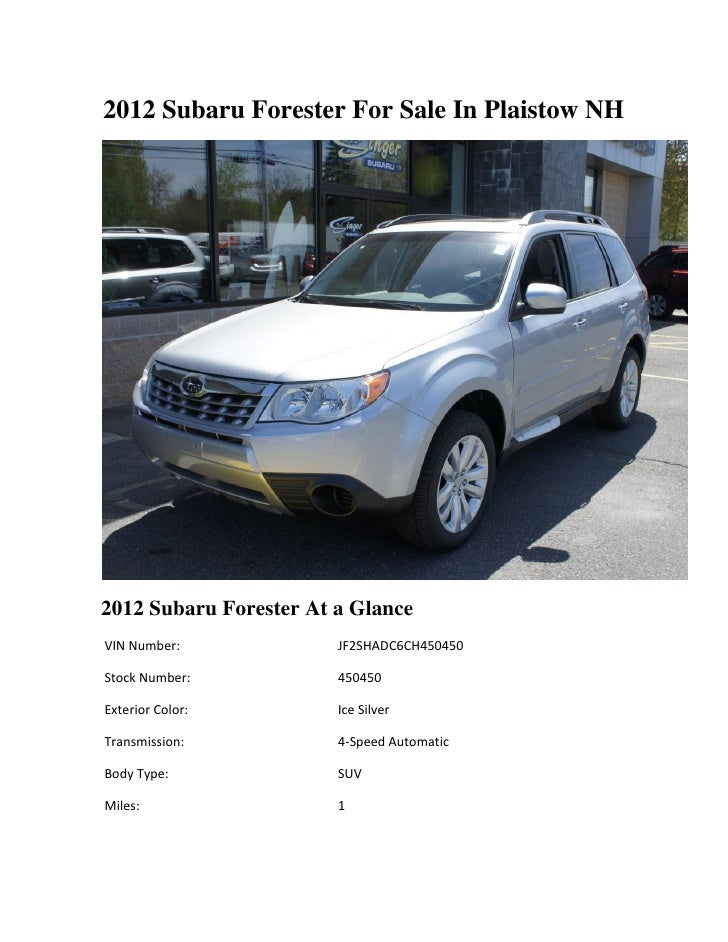 2012 Subaru Forester For Sale In Plaistow NH