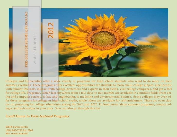 PRE-COLLEGE SUMMER PROGRAMS                                                              2012                             ...