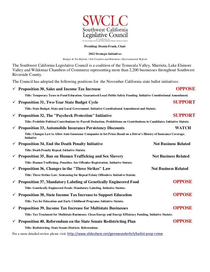 2012 swclc ballot propositions
