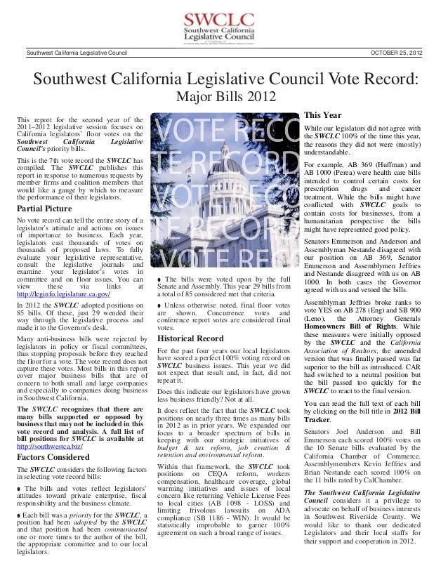 Southwest California Legislative Council                                                                            OCTOBE...
