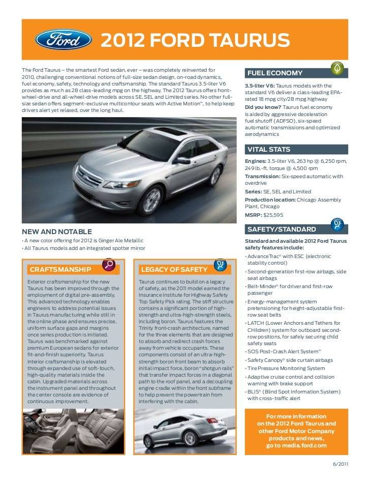 2012 ford TaurusThe Ford Taurus – the smartest Ford sedan, ever – was completely reinvented for2010, challenging conventio...