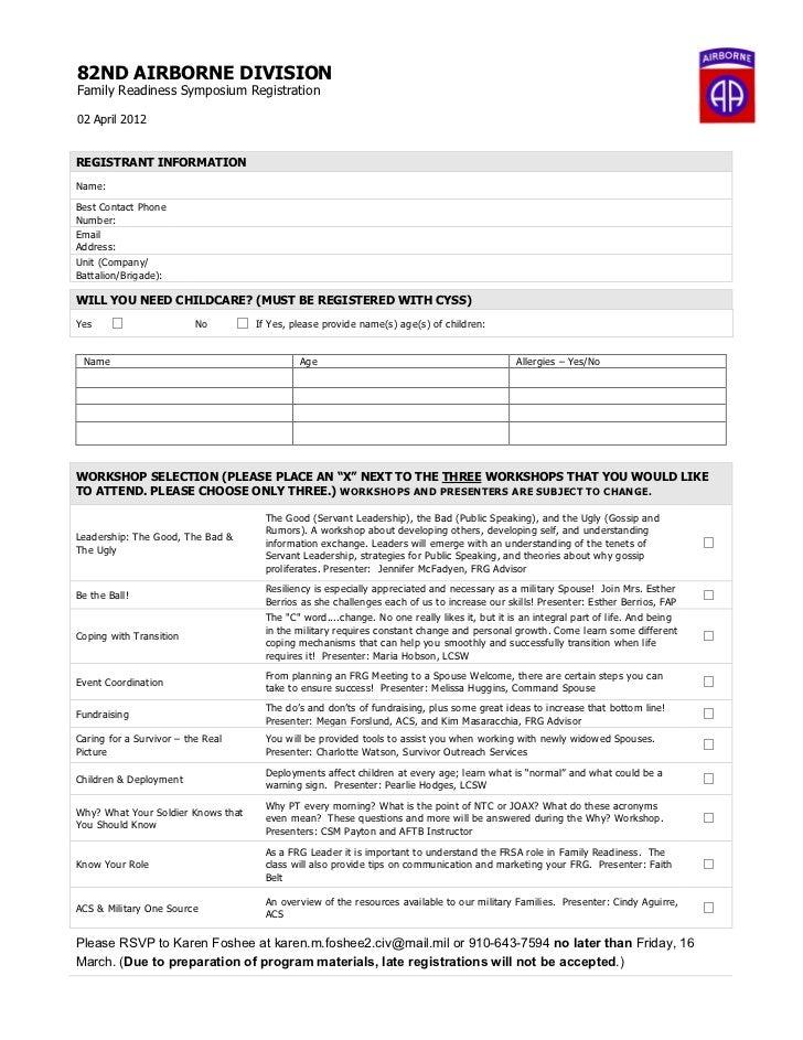 82ND AIRBORNE DIVISIONFamily Readiness Symposium Registration02 April 2012REGISTRANT INFORMATIONName:Best Contact PhoneNum...