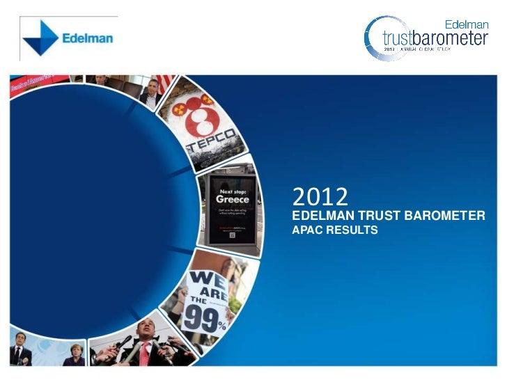 2012 Edelman Trust Barometer Asia Pacific