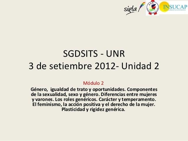 SGDSITS - UNR3 de setiembre 2012- Unidad 2                         Módulo 2Género, igualdad de trato y oportunidades. Comp...