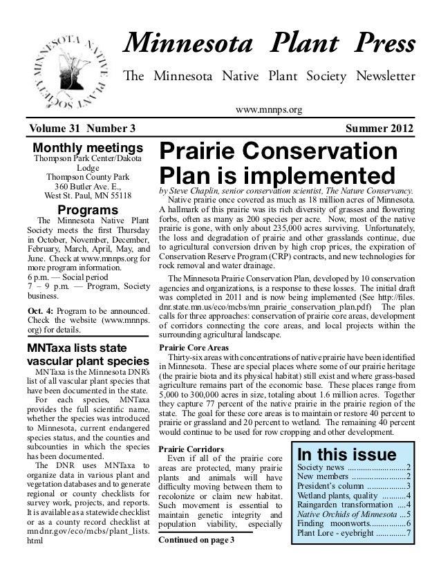 Minnesota Plant Press                               The Minnesota Native Plant Society Newsletter                         ...