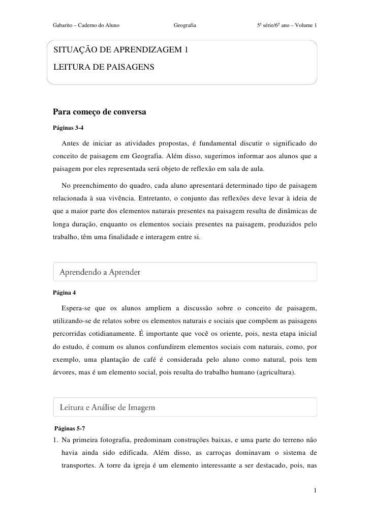 Gabarito – Caderno do Aluno             Geografia                   5a série/6o ano – Volume 1SITUAÇÃO DE APRENDIZAGEM 1LE...
