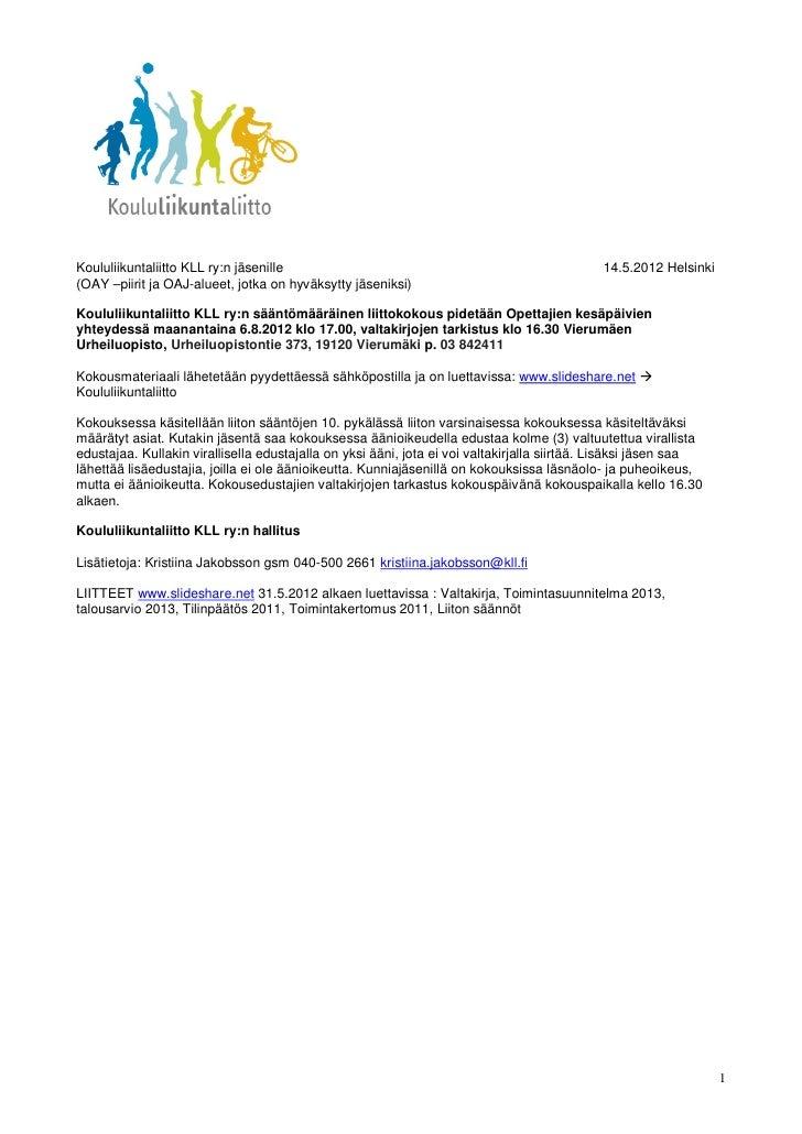 2012 vuosikokouskutsu ja esityslista
