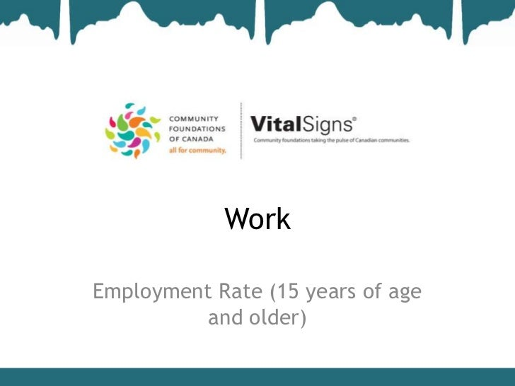 WorkEmployment Rate (15 years of age          and older)