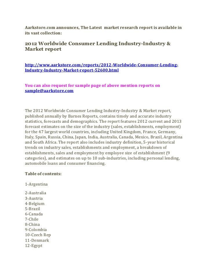 2012 worldwide consumer lending industry industry & market report