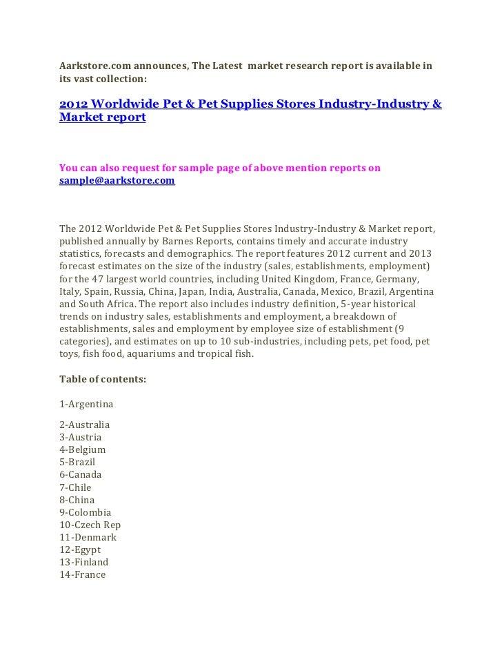 2012 worldwide pet & pet supplies stores industry industry & market report