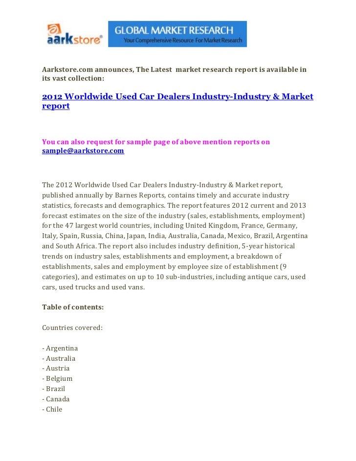 2012 worldwide used car dealers industry industry & market report